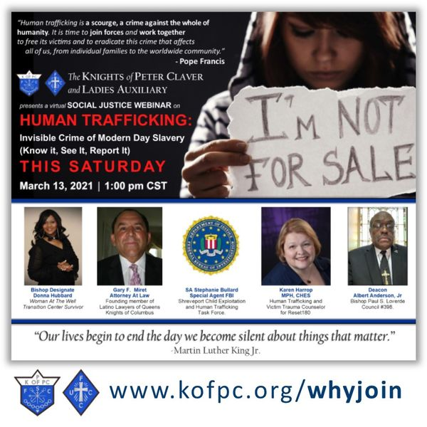 Knights of Peter Claver and Ladies Auxiliary to host webinar on modern slavery