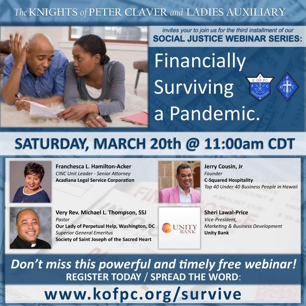 Knights and Ladies holding finance webinar Saturday